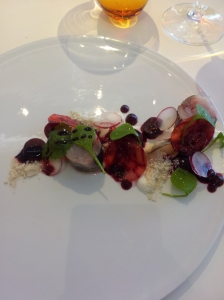 Mackerel with beetroot and oyster snow