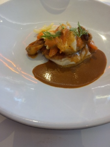 Seabream with a bouillabaisse sauce