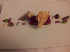 Simmental tartar and fried langoustine