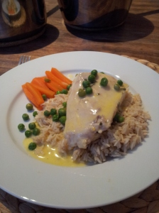 Nile perch with rice and orange sauce