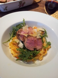 Springpasta with porc filet