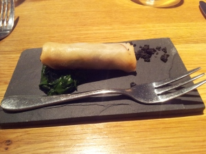 Springrolls with a duck confit filling wt spinach and olive crumble