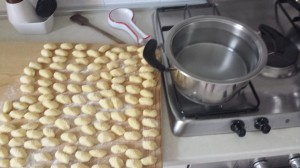 Boil water and add gnocchi