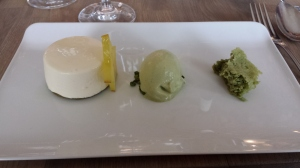 Bavarois of white chocolate, pistachio and chartreuse