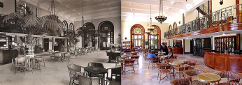 Curia Palace lobby 1926 and now