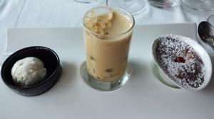 Trio of desserts Almond ice, Port sabayon, lemon souffle
