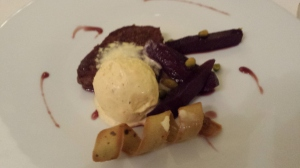 French toast of gingerbread, pears poached in red wine