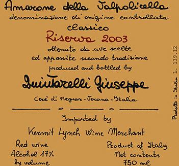 Label Guiseppe quintarelli